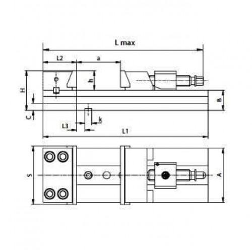 Presný strojný zverák s hydraulickým posilovačom, typ 6621