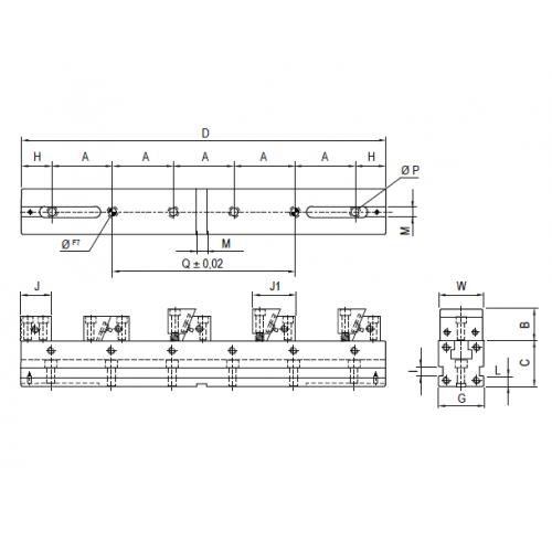 Presný strojný modulárny zverák pre viacnásobne upínanie, typ 6850