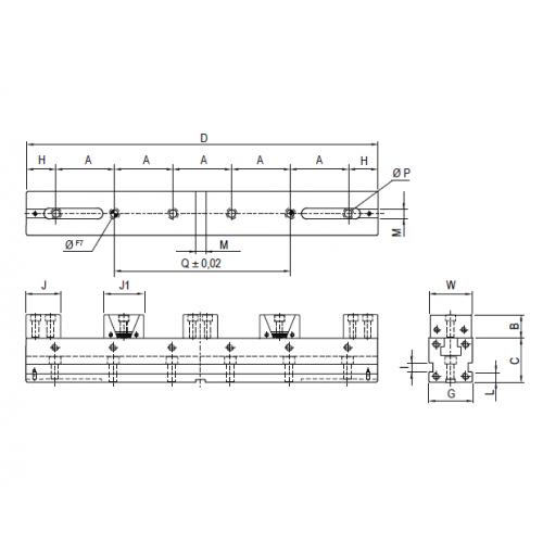 Presný strojný modulárny zverák pre viacnásobne upínanie, typ 6852