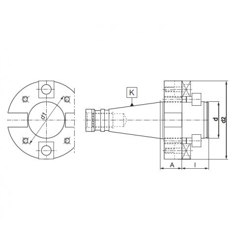 Frézovací trň pre frézovacie hlavy, DIN 2080, Typ 2824