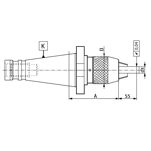 Trň s samosvorným skľučovadlom, DIN 2080, Typ 7657