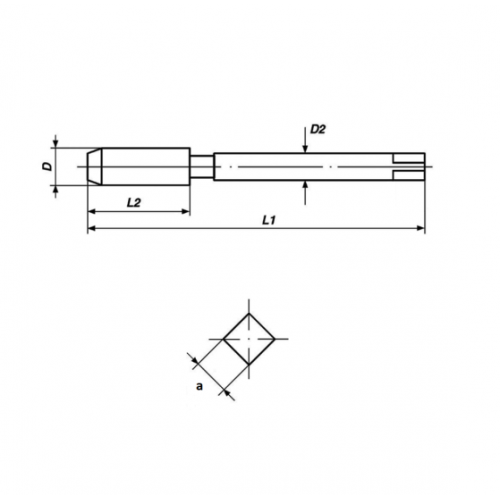 Strojný závitník s priamou drážkou a lámačom B, M-metrický závit, DIN 371, ISO2(6H), HSSE